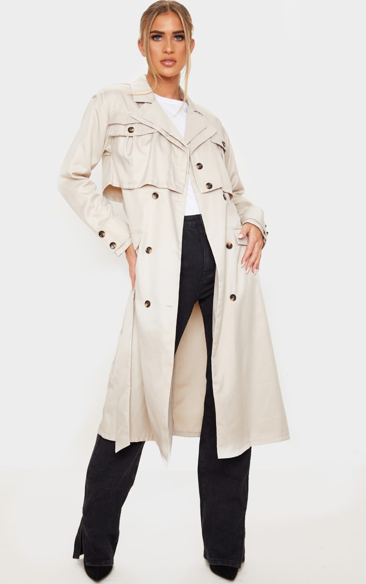 Stone Oversized Belted Trench Coat 1