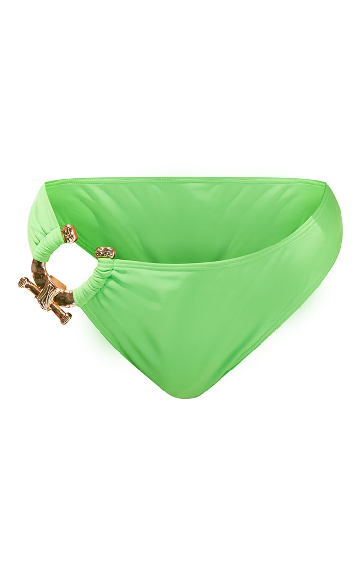 Green Hammered Trim High Rise Bikini Bottoms 5