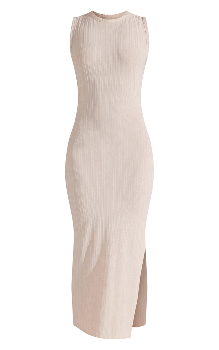 Recycled Beige Rib Split High Neck Midi Dress 5