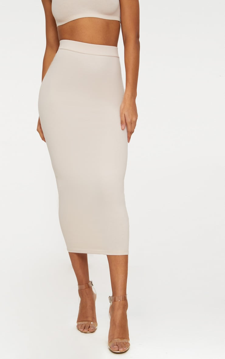 Cream Second Skin Bodycon Midaxi Skirt 4