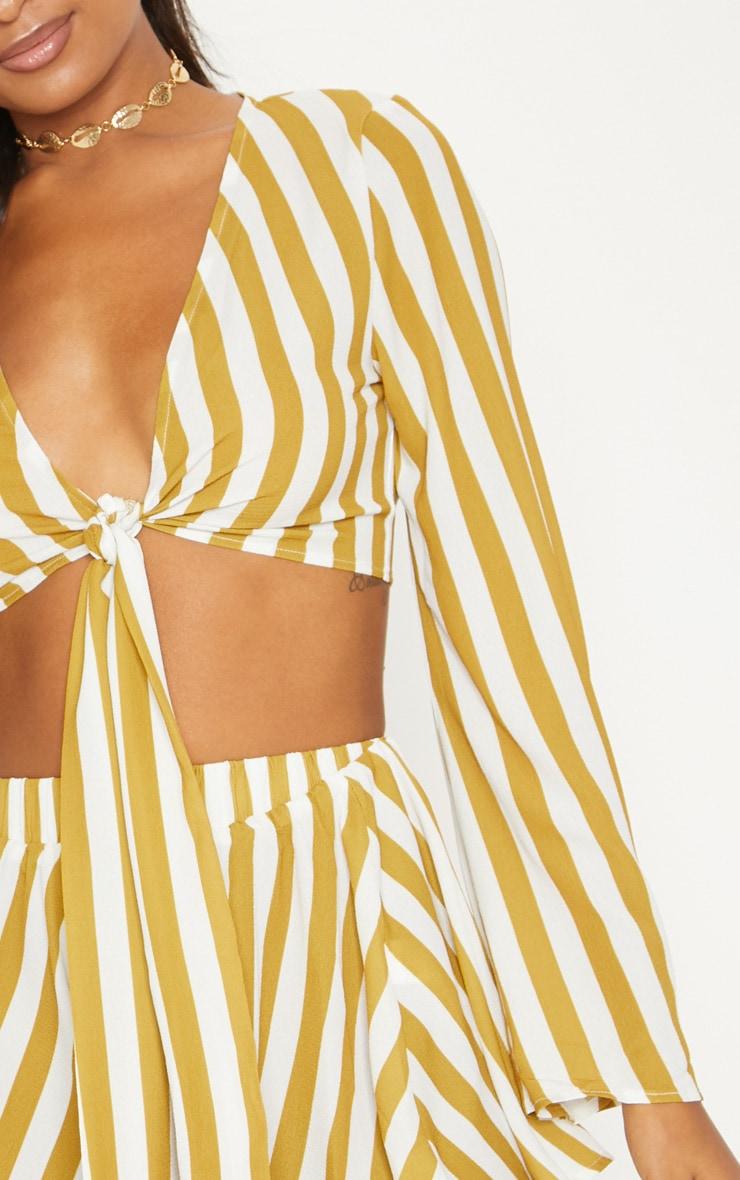 Mustard Flute Sleeve Tie Front Stripe Blouse 5