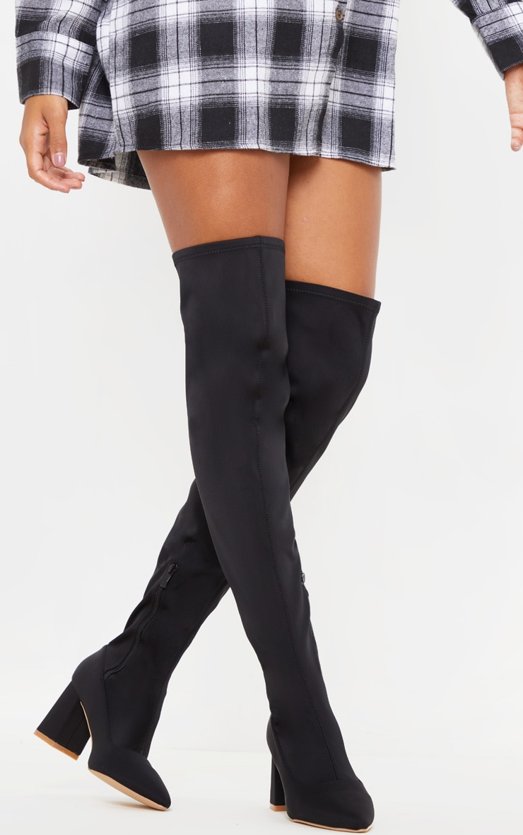 Black Wide Fit Low Block Heel Thigh High Boot 2