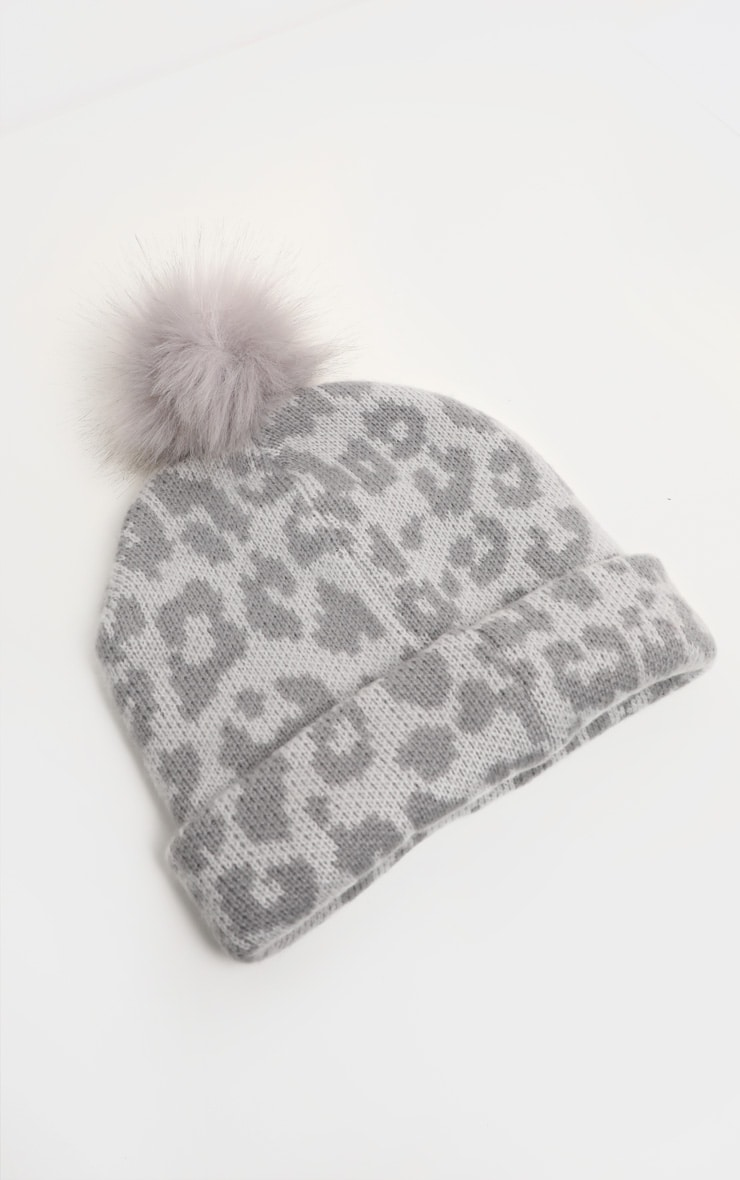Grey Leopard Beanie Hat With Pom 2