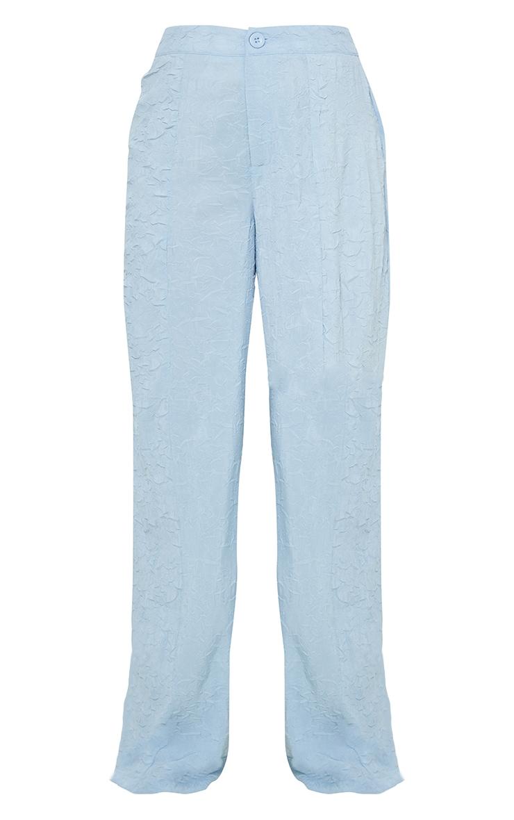Petite Baby Blue Lightweight Crinkle Wide Leg Trousers 5