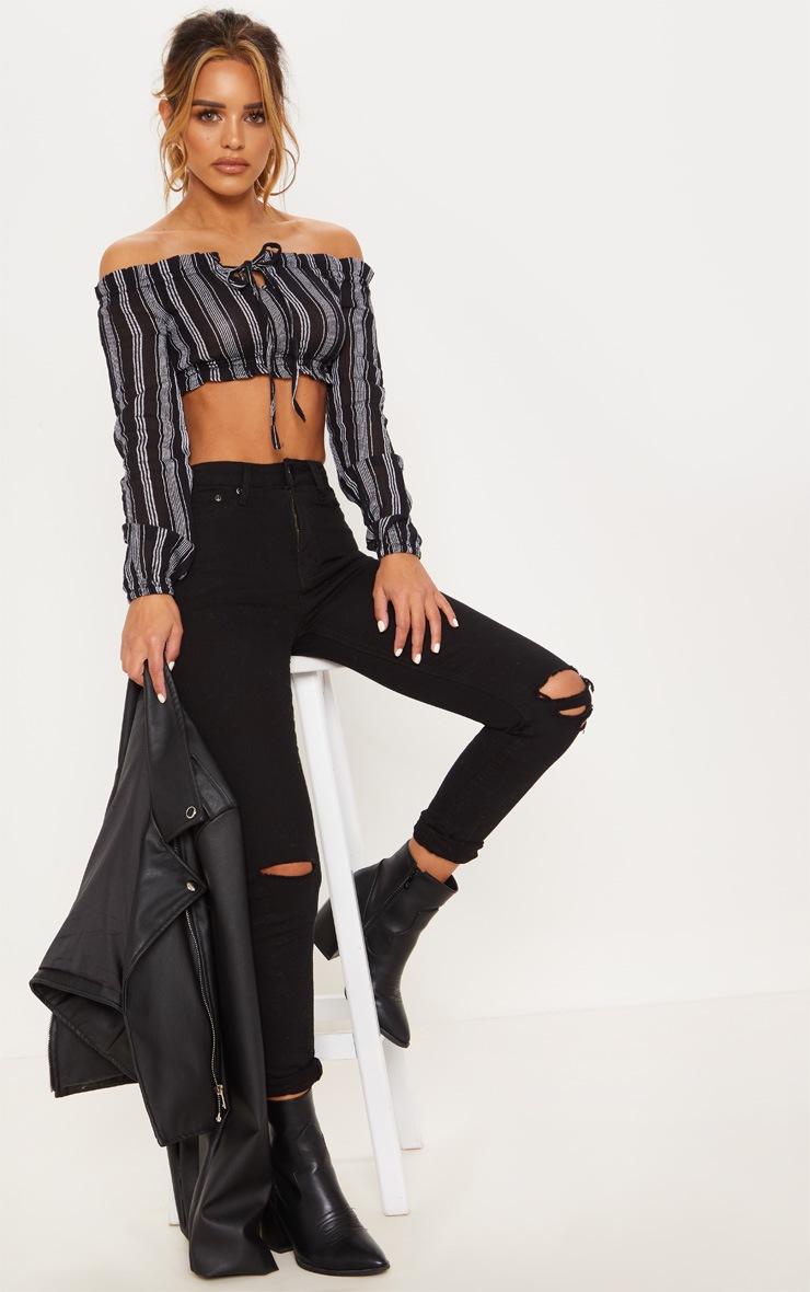 Petite Black Cheesecloth Striped Bardot Crop Top 4