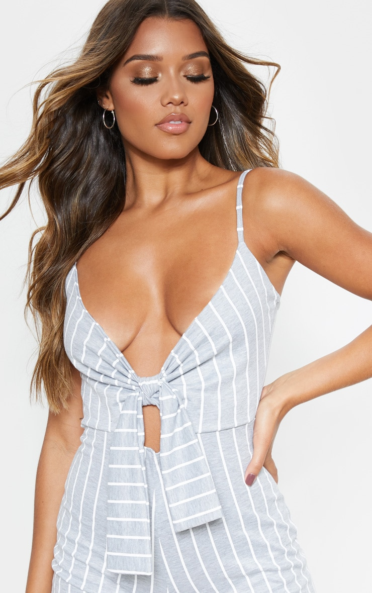 Grey Stripe Knot Detail Plunge Strappy Playsuit 5