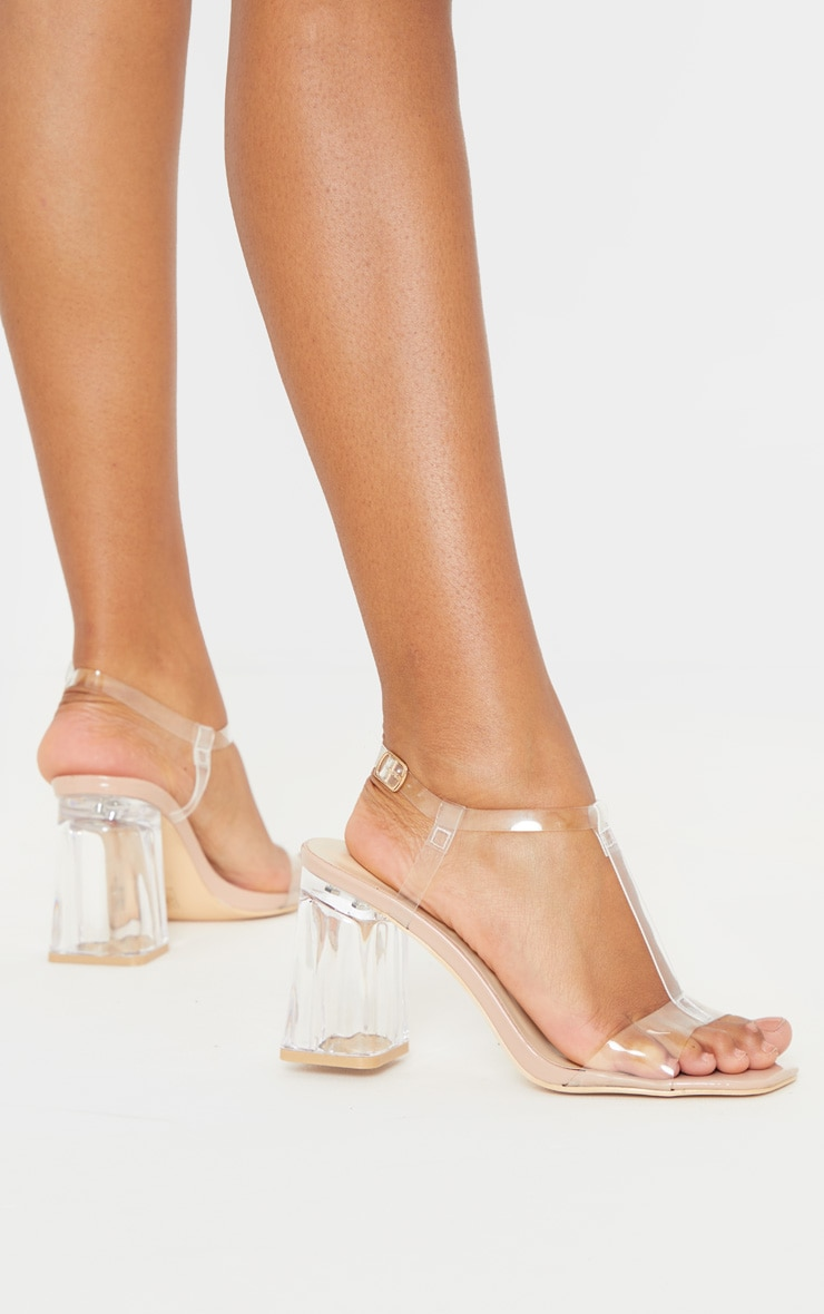 Nude Clear Block Heel Strappy Sandal 2
