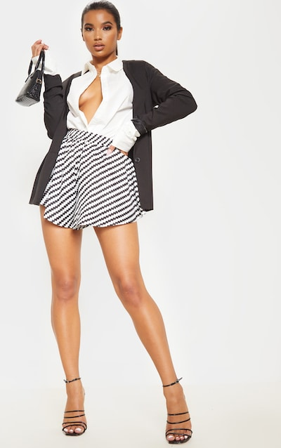 Monochrome Chevron Stripe Floaty Shorts