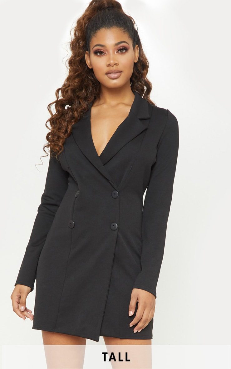 Tall Black Mini Double Breasted Blazer Dress 1