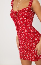 Recycled Red Ditsy Floral Frill Detail Shift Dress 4