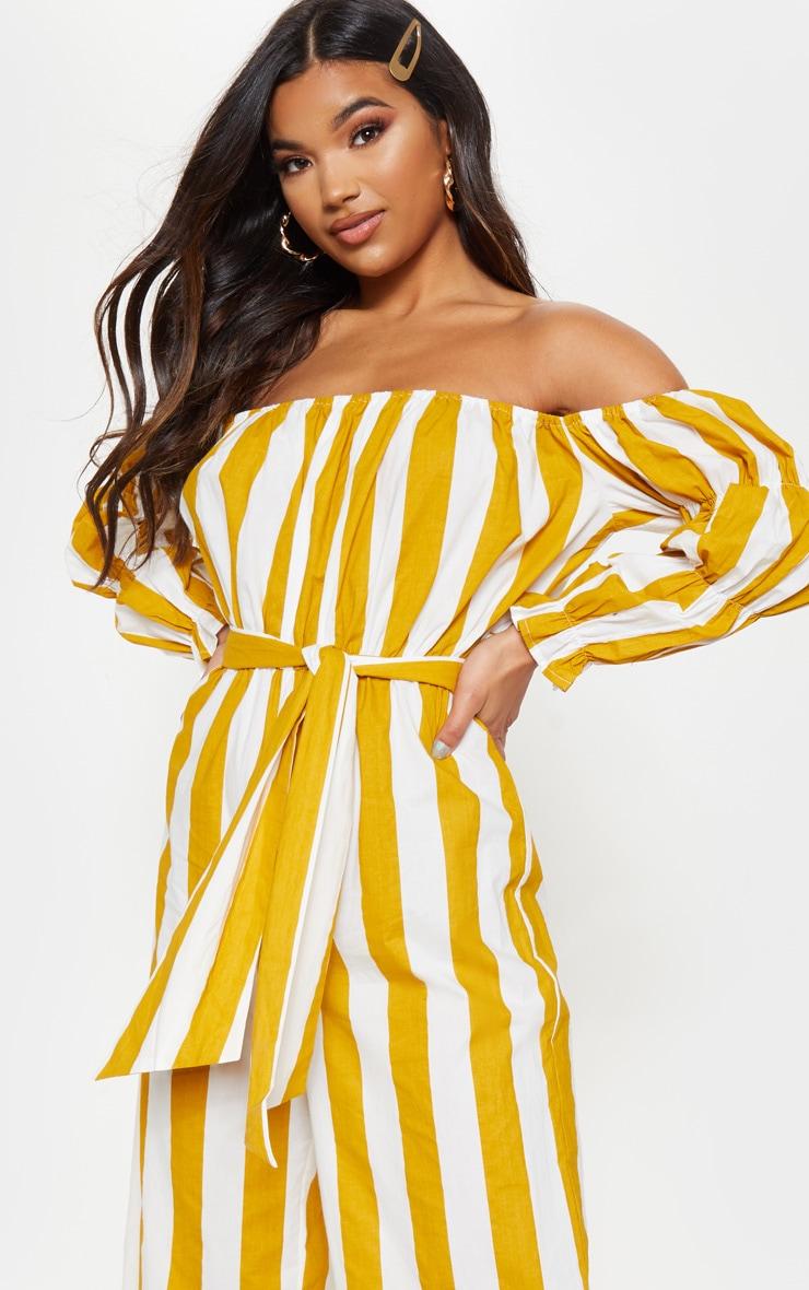 Mustard Large Stripe Print Bardot Tie Waist Jumpsuit 5
