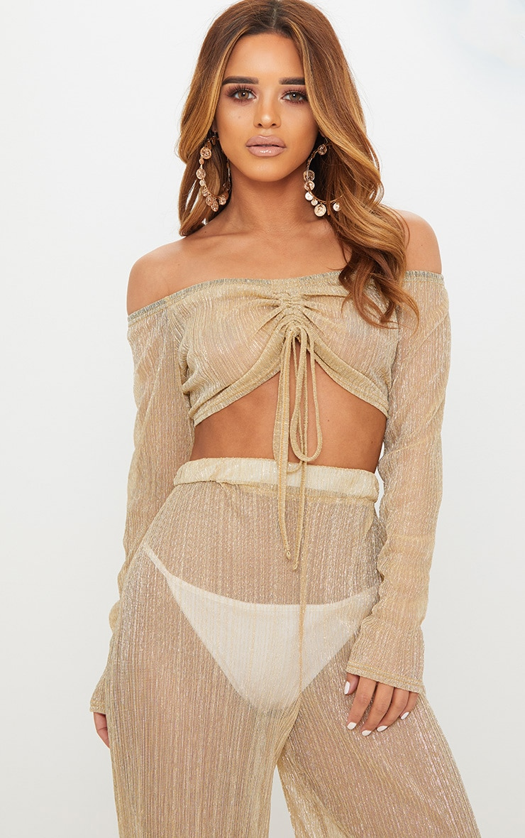 Petite Gold Metallic Sheer Pleated Mesh Bardot Crop Top 1