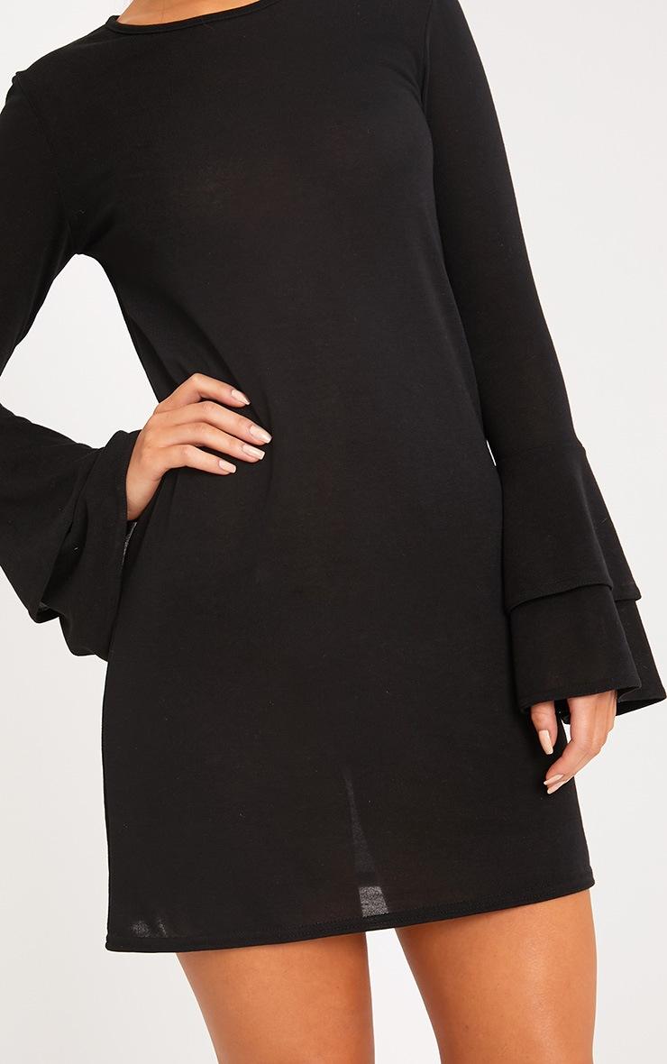 Marlini Black Double Frill Sleeve Knitted Mini Dress 5