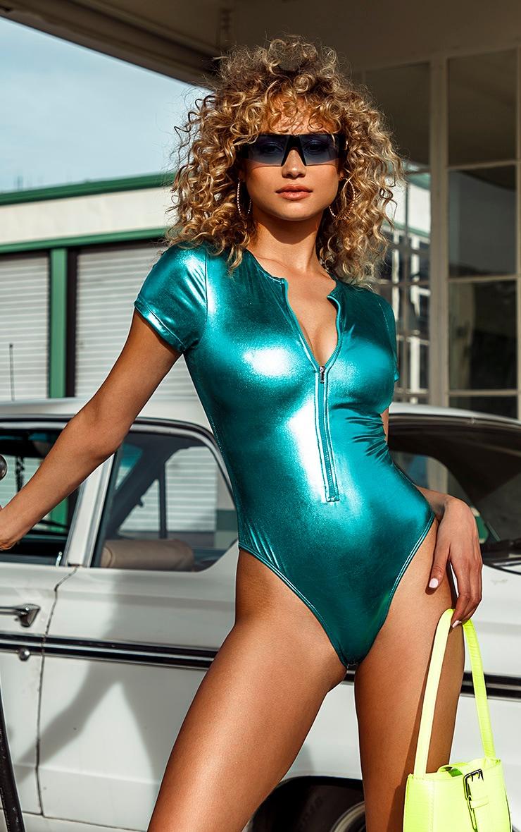 Turquoise Metallic Zip Up T Shirt Swimsuit 1