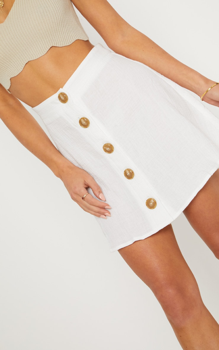 Cream Button Front Linen Feel Mini Skirt 6