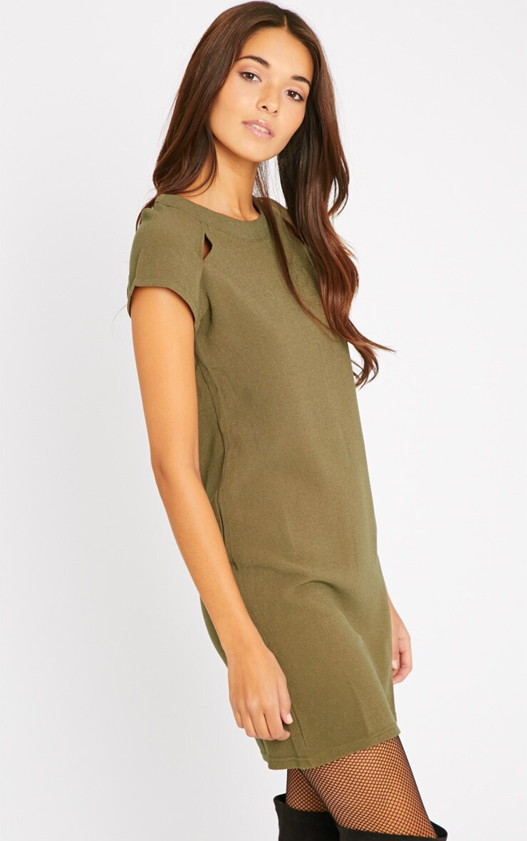 Hannah Khaki Waffle Shift Dress 4