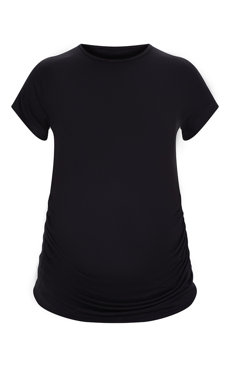 Maternity Black Basic Crew Neck Fitted T Shirt 5