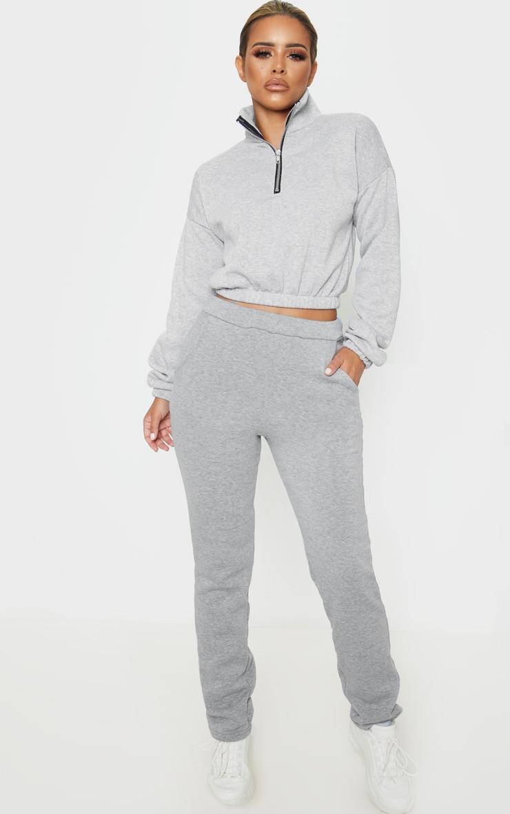 Petite - Sweat gris à demi zip 4