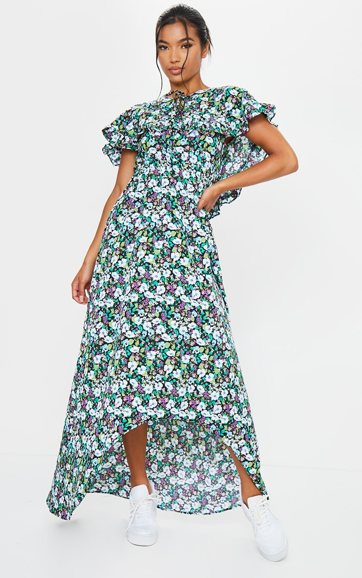Black Ditsy Floral Print Tie Neck Ruffle Maxi Dress 3