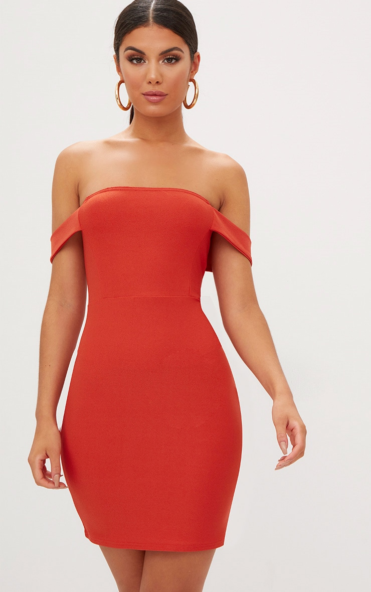 Burnt Orange Arm Detail Bandeau Bodycon Dress 1