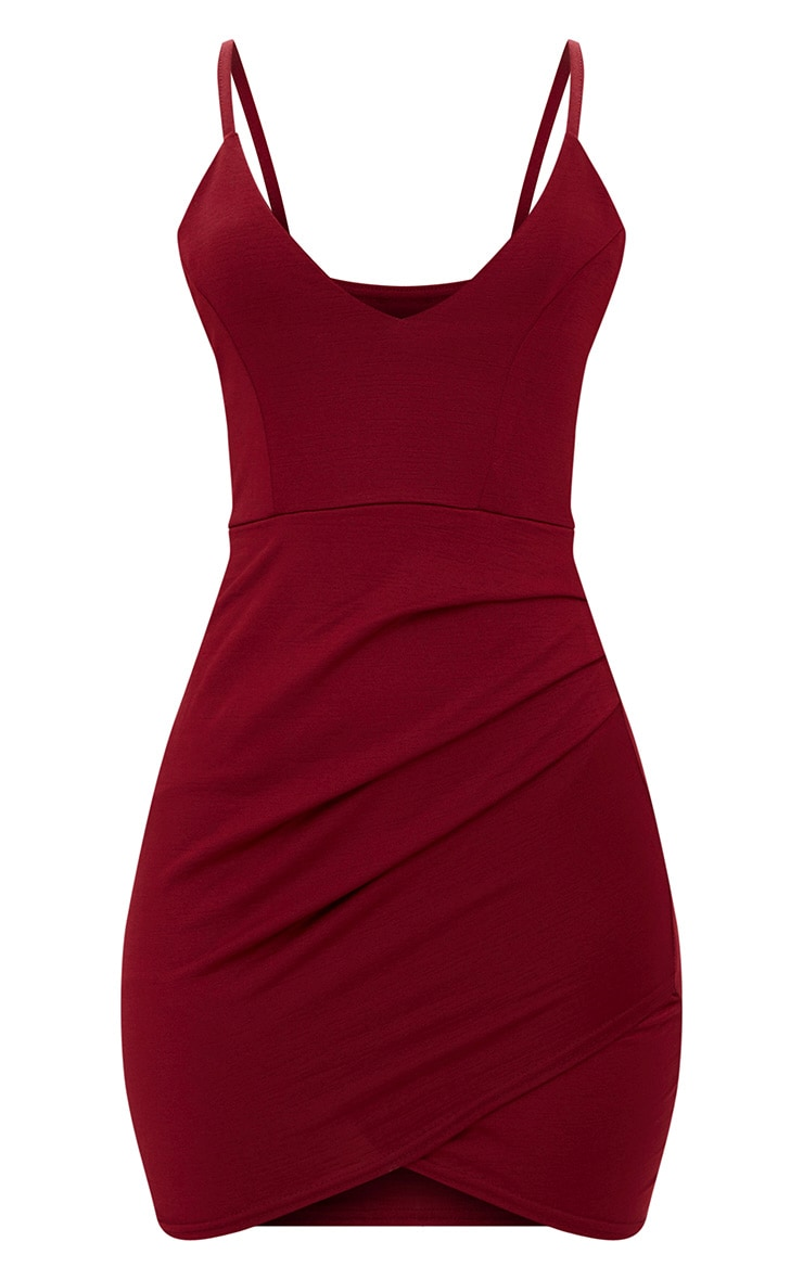 Burgundy Strappy Plunge Wrap Skirt Bodycon Dress 3
