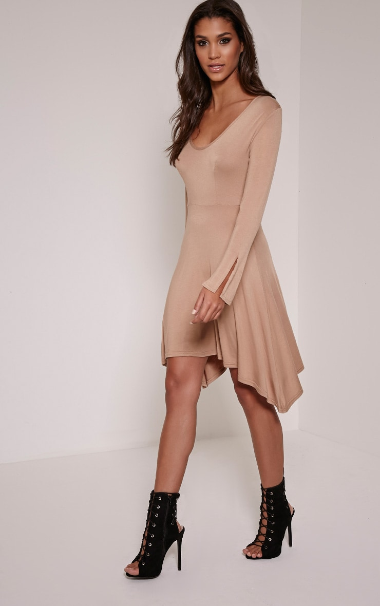 Basic Camel Long Sleeve Drop Hem Skater Dress 1
