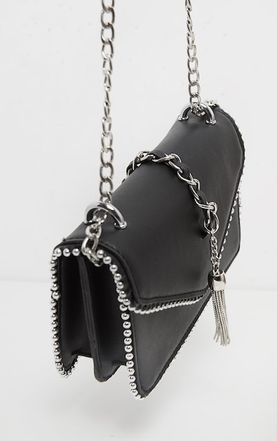 Black PU Chain and Tassel Trim Cross Body Bag