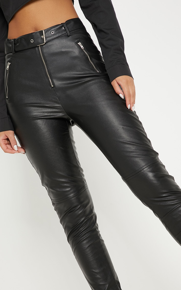 Black Faux Leather Belted Zip Detail Skinny Pants 5