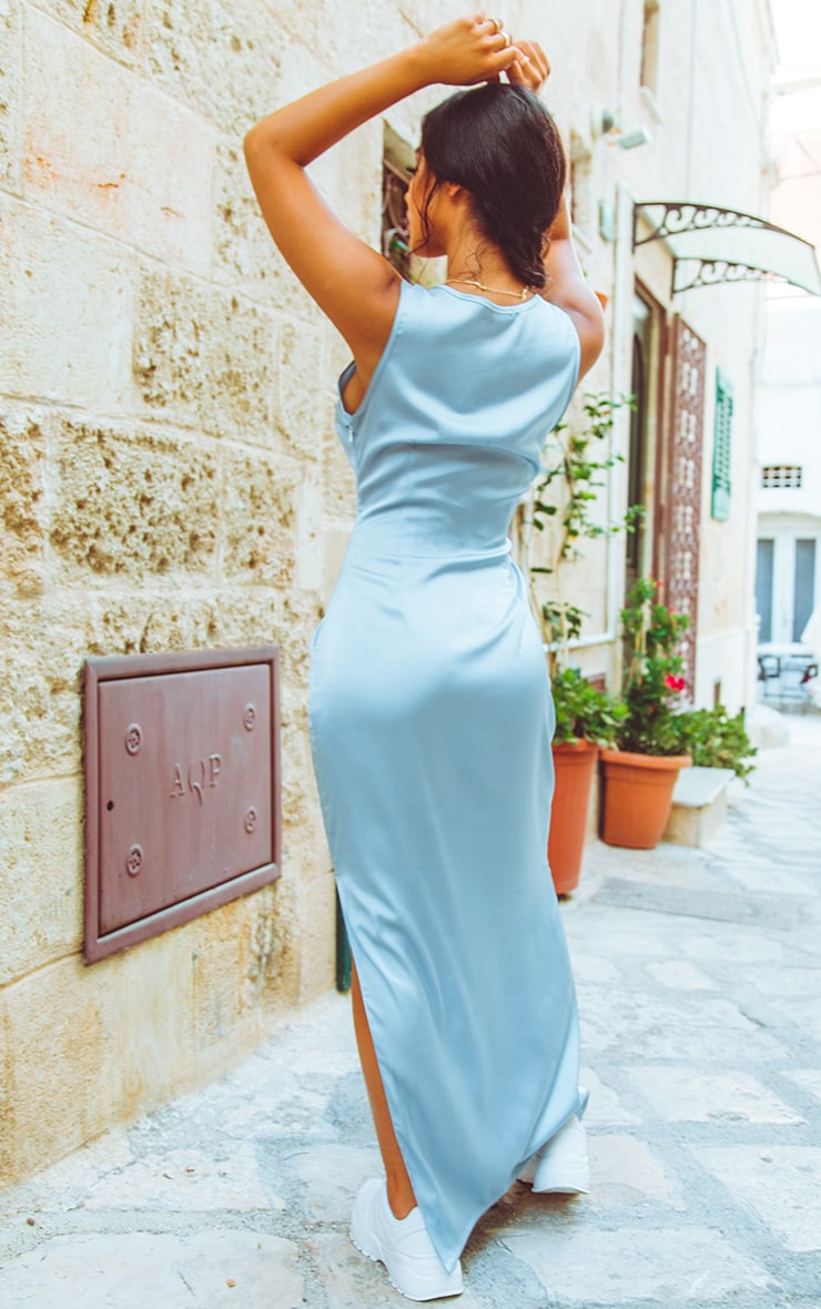 Baby Blue Satin Fitted Maxi Dress 2