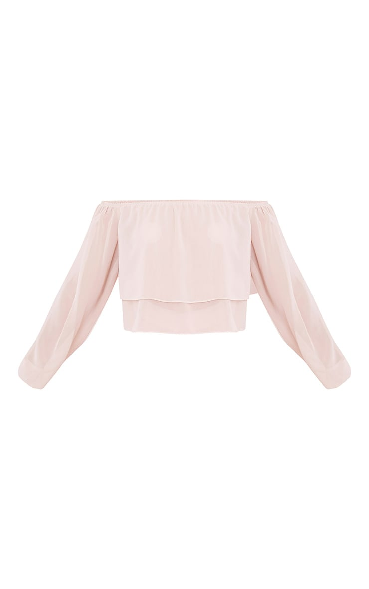 Lella Cream Ruffle Bardot Crop Top 3