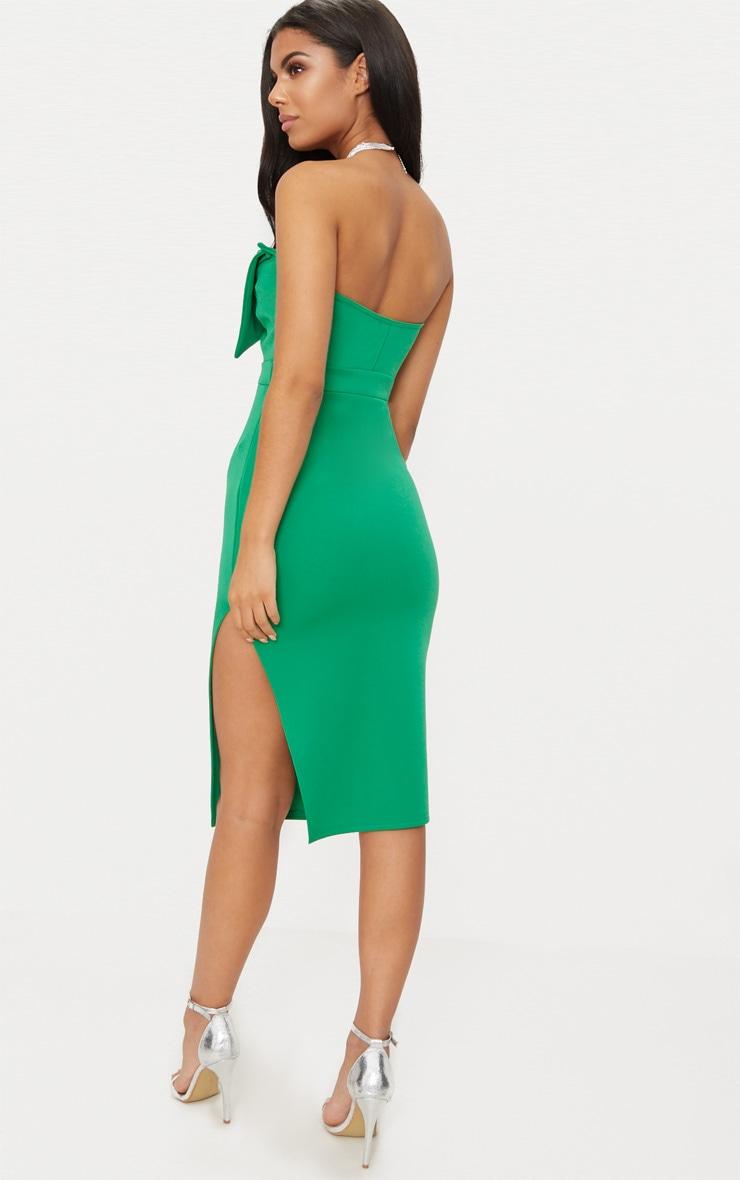 Bright Green Bow Detail Scuba Midi Dress 2