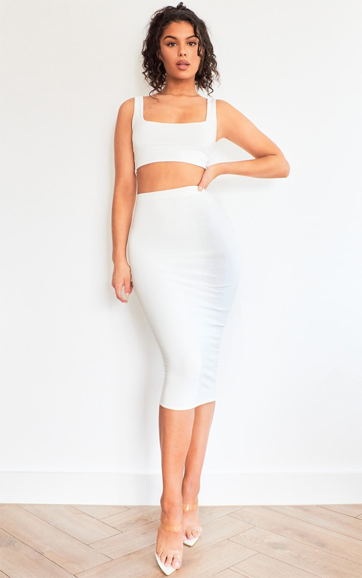 White Slinky Square Neck Sleeveless Crop Top 3