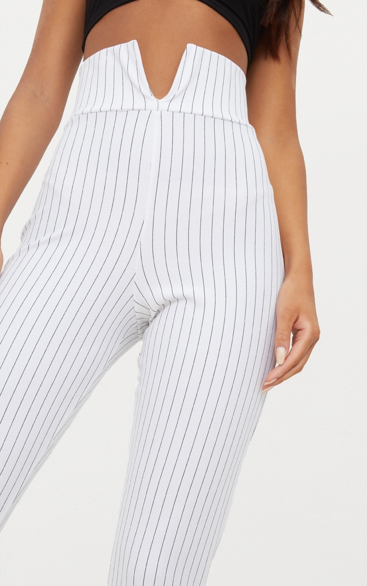 White Pinstripe Cut Out Waist Skinny Trousers  4