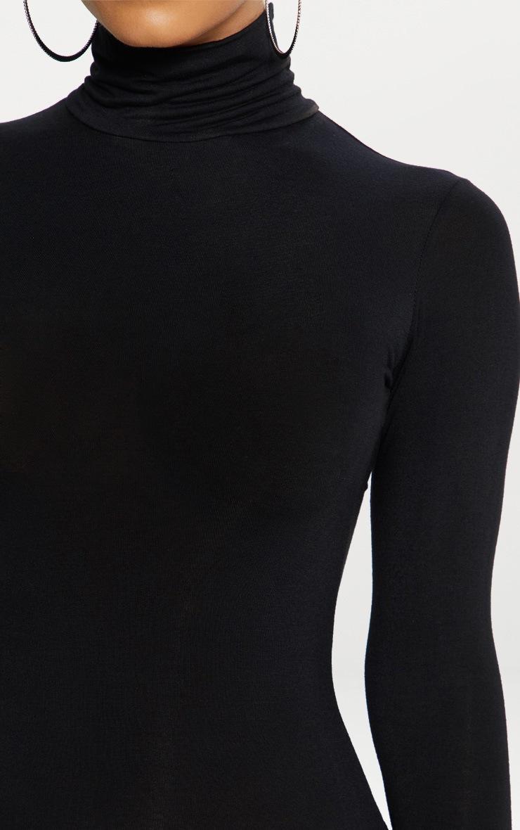 78067ea265 Basic Black Roll Neck Midi Dress image 5