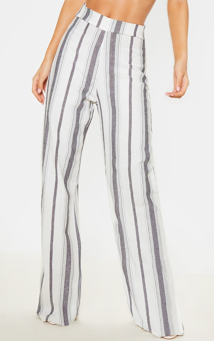 Mono Stripe Linen Wide Leg Pants 2