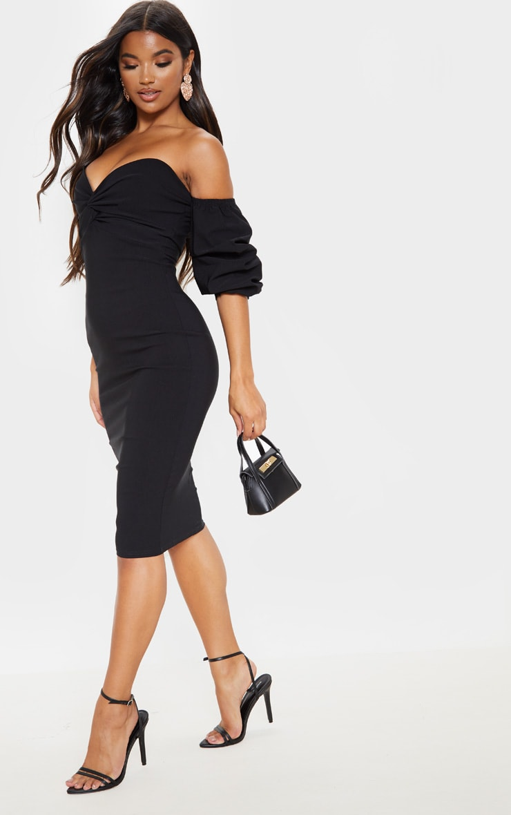 Black Bardot Twist Detail Midi Dress 4