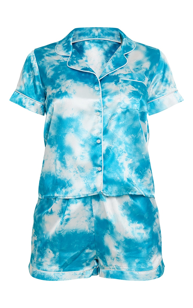 Blue Tie Dye Satin Short PJ Set 5