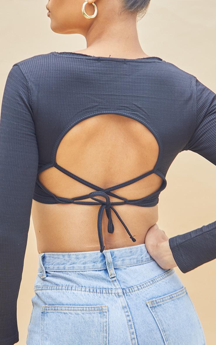 Black Stretch Rib Square Neck Backless Tie Crop Top 4