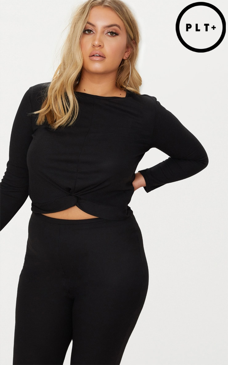 Plus Black Ribbed Knot Front Crop Top 1
