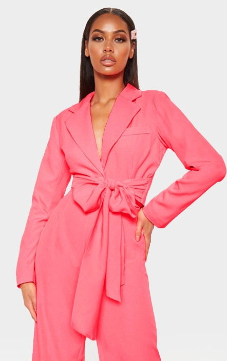 Coral Belted Cropped Woven Blazer    4