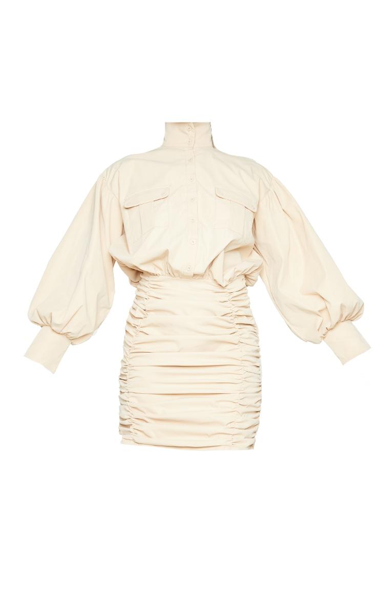Stone Balloon Sleeve Pocket Detail Ruched Shirt Dress 5