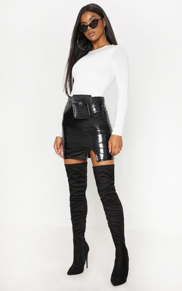 Black Vinyl Side Split Mini Skirt 6