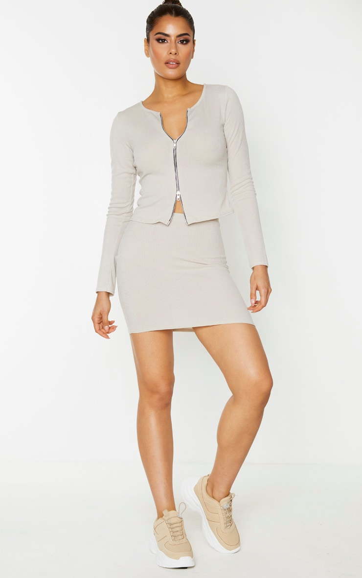 Tall Stone Ribbed Skirt 1