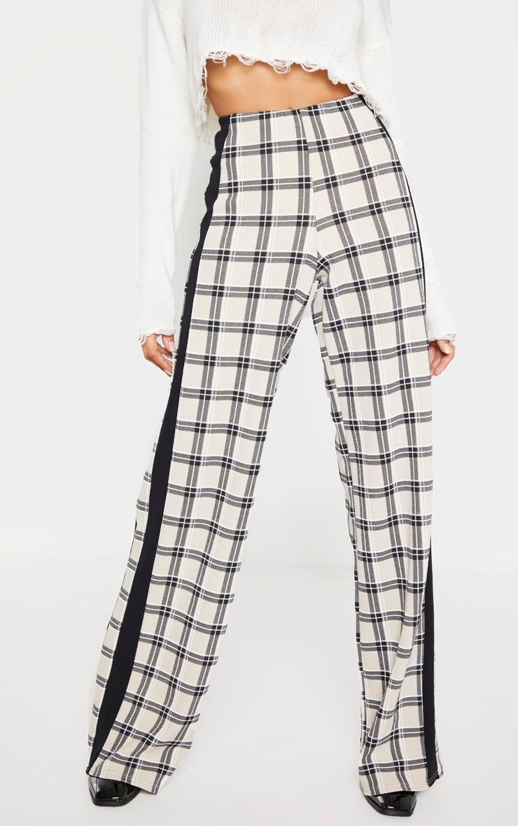 Stone Check Wide Leg Side Stripe Trouser 2