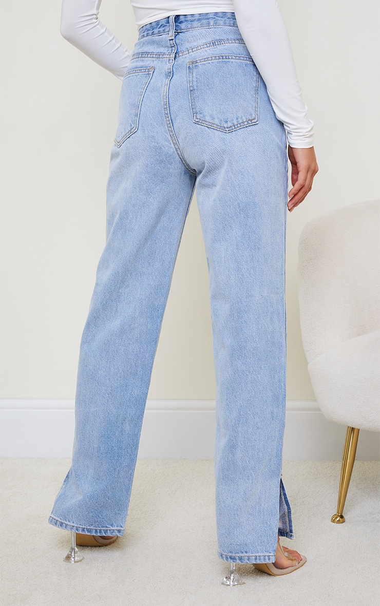 Petite Light Blue Wash Distressed Split Hem Straight Leg Jeans 3