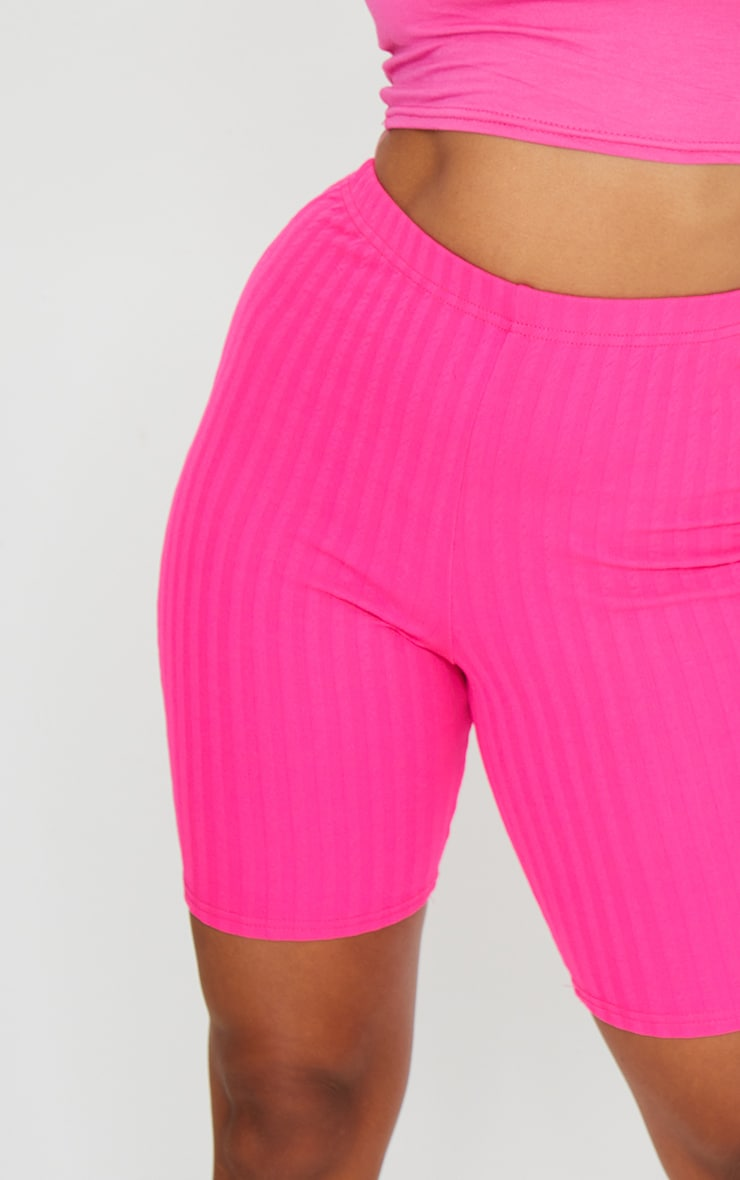 Petite Hot Pink Crinkle Cycle Shorts 5