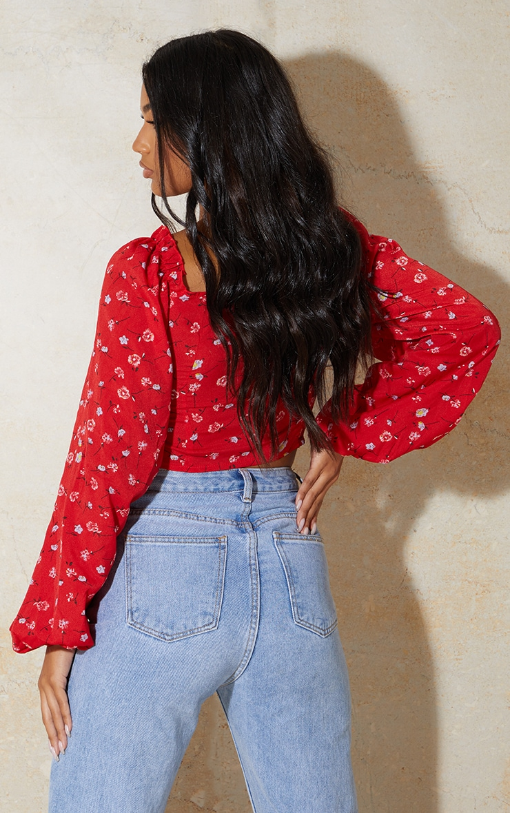 Red Ditsy Floral Mesh Cup Detail Long Sleeve Crop Top 2