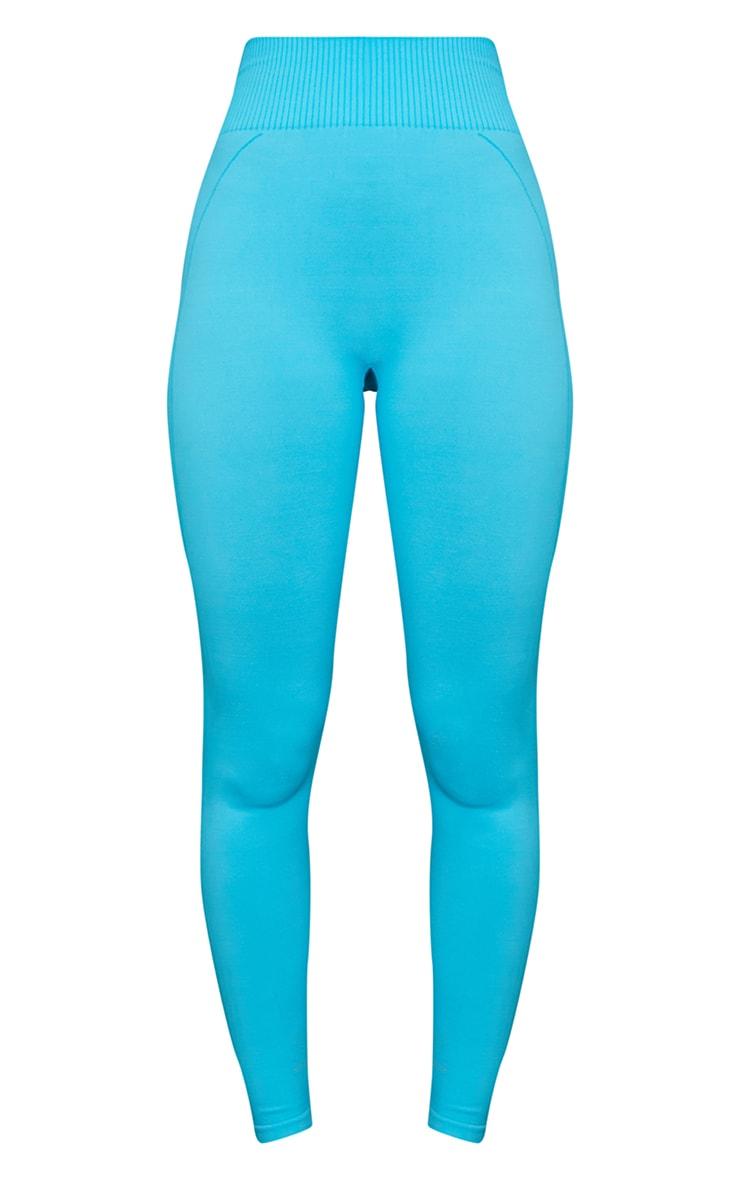 Blue Seamless Diamond Detail Gym Leggings 5