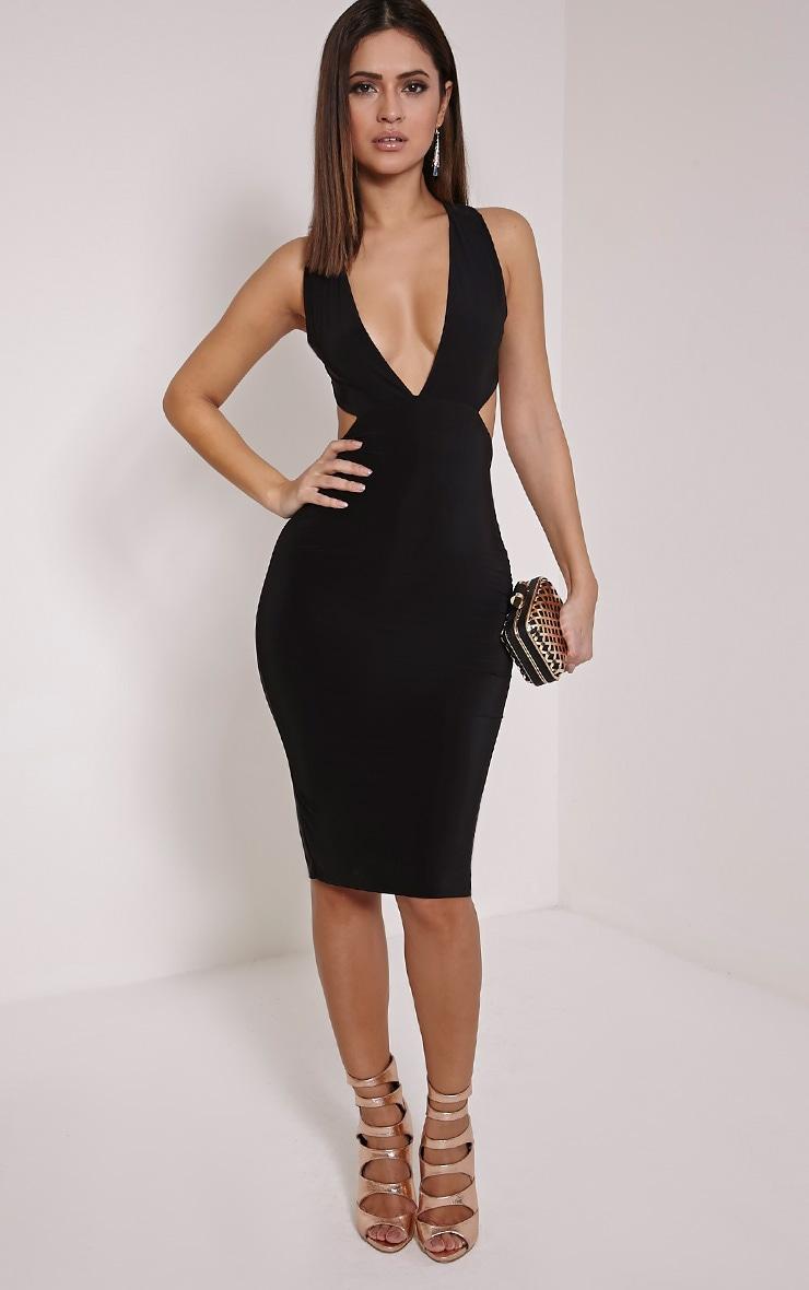 0a1150d8ac3f Petite Biddy Black Deep Plunge Midi Dress | PrettyLittleThing AUS