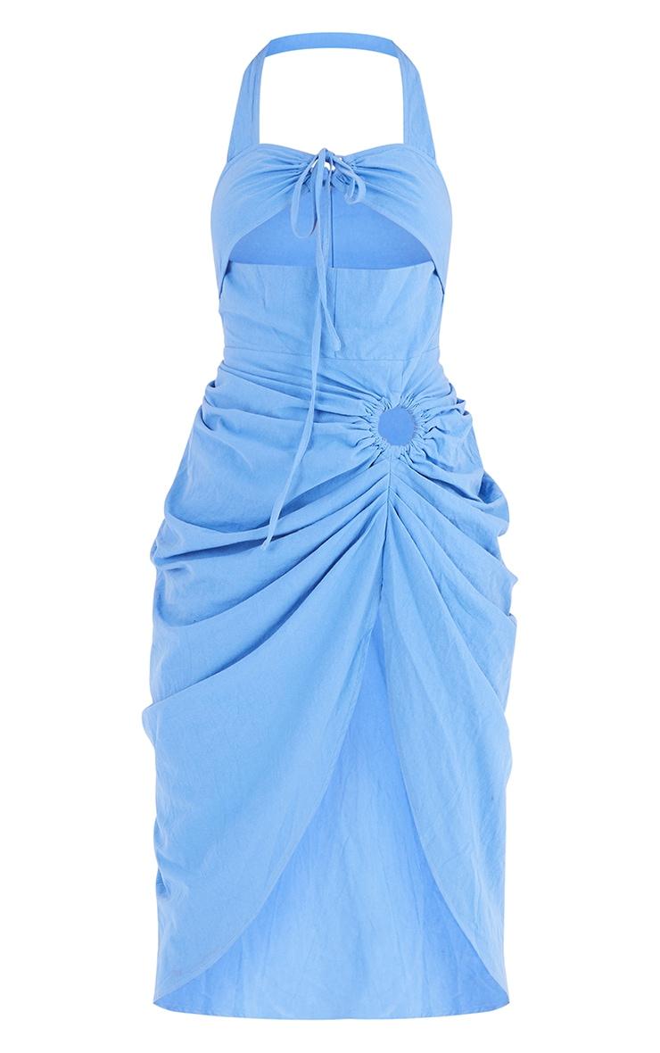 Tall  Blue Textured Halterneck Ring Detail Gathered Skirt Midi Dress 5